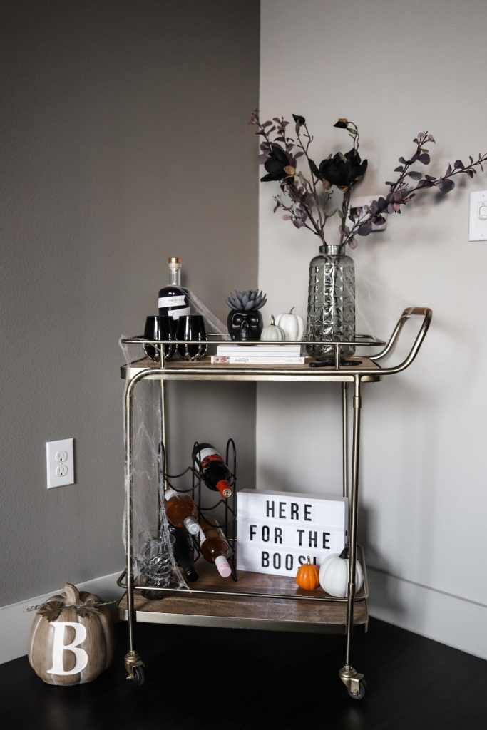 spooky halloween bar cart decor