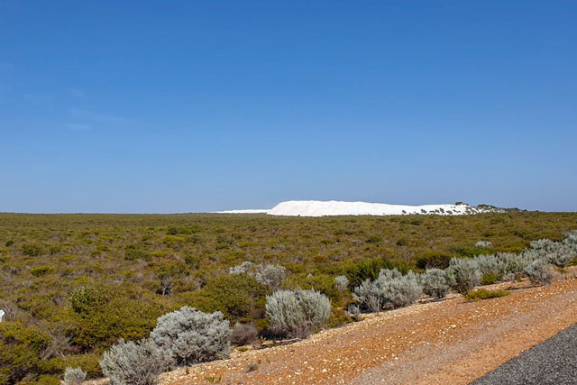 A patch of white dunes as soon from Indian Ocean Drive as you approach Lancelin