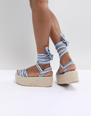 Boohoo Striped Flatform Espadrille Sandals