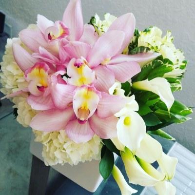 Delicate Arrangement With Orchids, Hydrangeas & White Callas