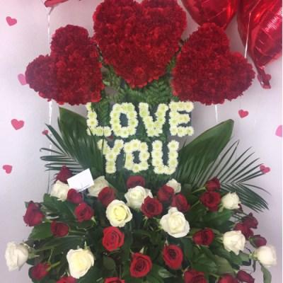 """LOVE YOU"" Flower Arrangement"