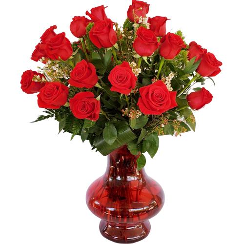 Fabulous 24 Roses Vase Love Flowers