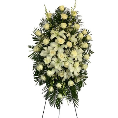 6 Ft. Tall White Standing Spray With White Roses