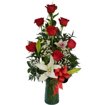 Roses & Lilies In A Beautiful Vase