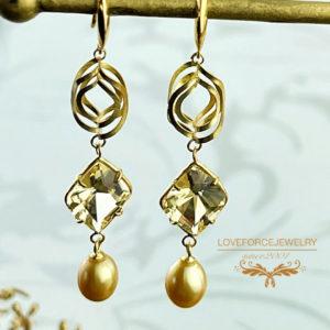 K18ピアス イエローベリル 南洋真珠