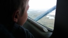 Ben taking in the views from the Bush Plane