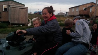 "Dana giving Heidi and the boys a ride in her ""minivan""."
