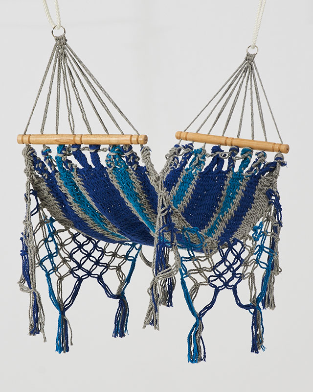 Macrame Mini Hammock Blue Teal Gray