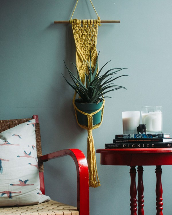 Mombacho Macrame Plant Holder Yellow Made in Nicaragua