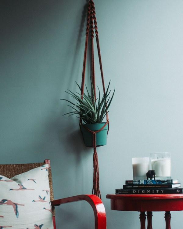 Santana Macrame Plant Holder Tile Red Made in Nicaragua