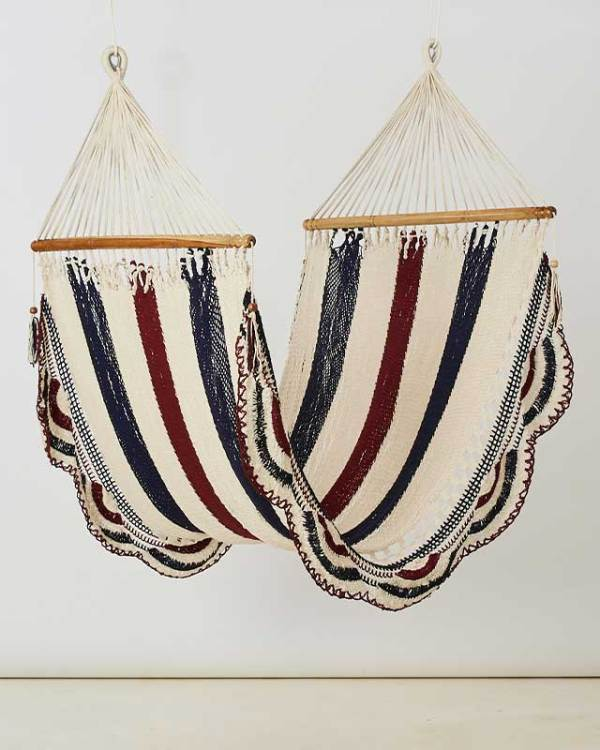 Macrame Double Hammock White Navy Red Wine Made in Nicaragua