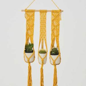 Leon Macrame Plant Holder Yellow Made in Nicaragua