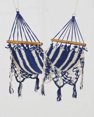 Macrame Mini Hammock White Blue Made in Nicaragua