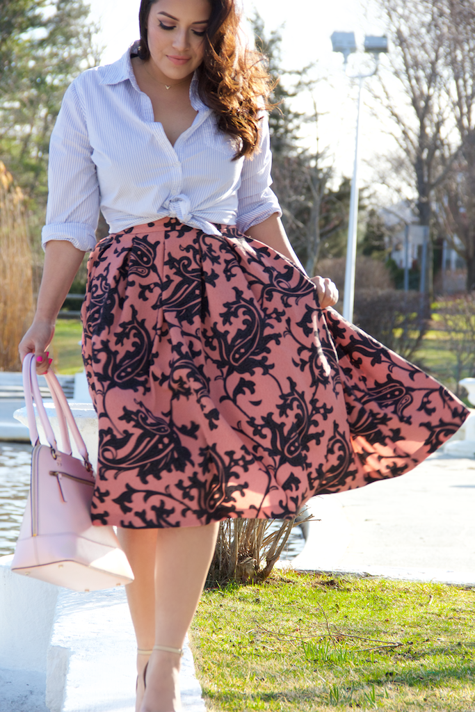 H&M Dusty Pink Textured-Weave Skirt
