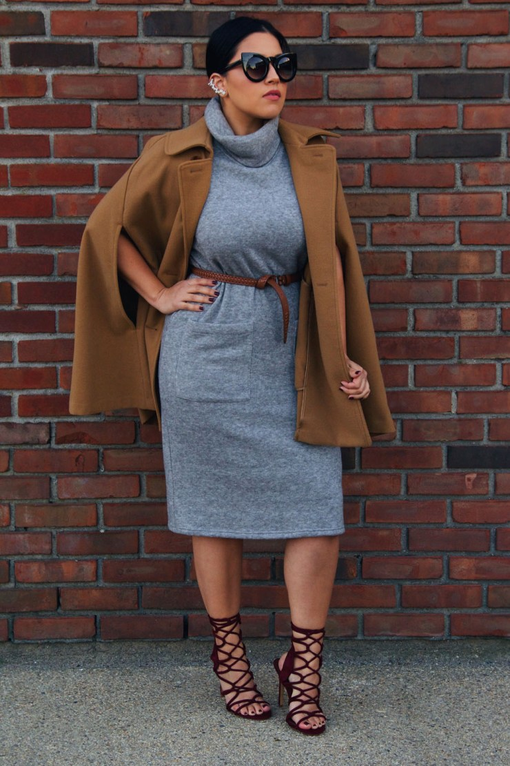 Forever 21 Gray Turtleneck Midi Dress