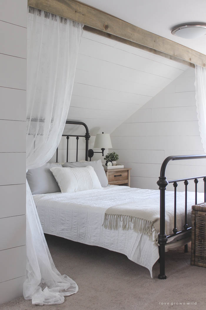 wood beam and lace curtains love