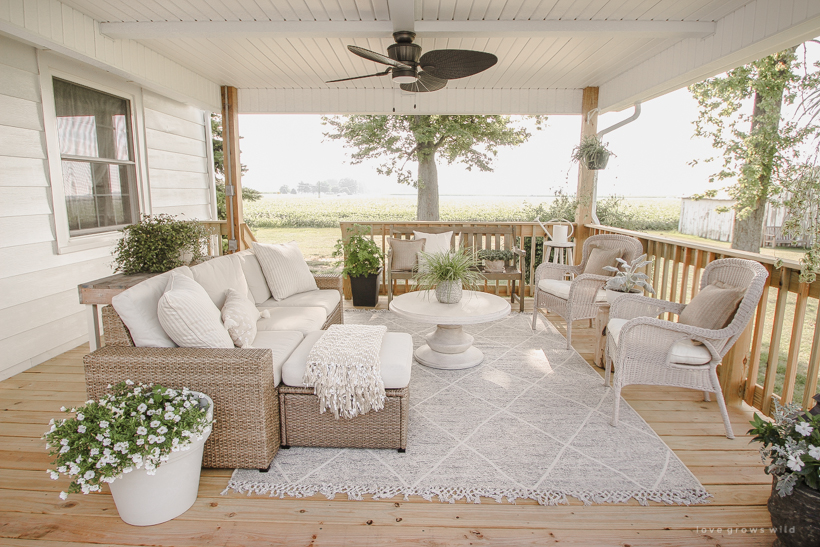 Deck Reveal - Our Completed Outdoor Living Space ... on Farmhouse Outdoor Living Space id=43890