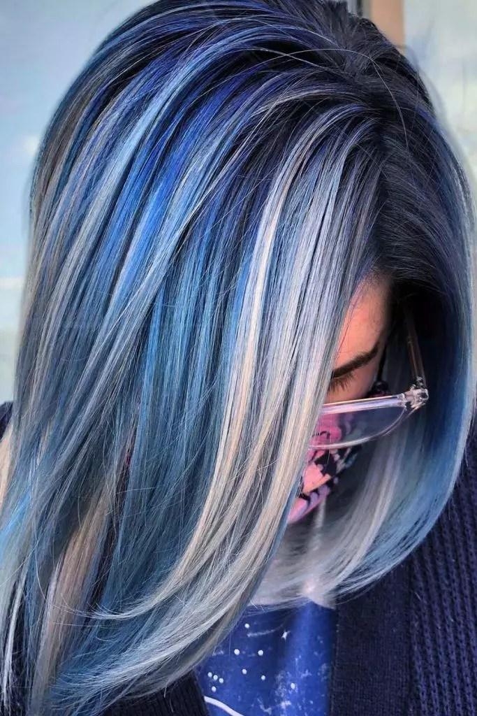 Silver Hair with Blue Hair