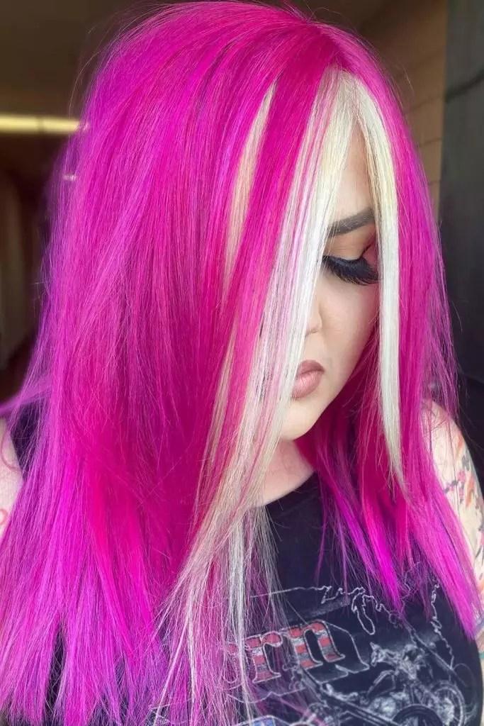 Hot Pink Hair with Blonde Streaks