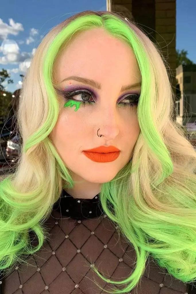 Green Highlights on Long Blonde Hair