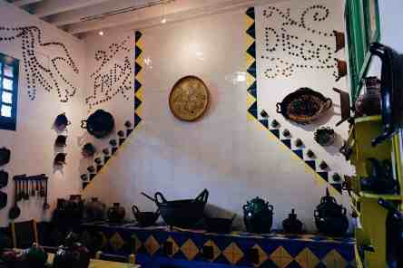 Decorated mosaic wall in Frieda Kahlo's kitchen, park of the Frieda Kahlo Museum