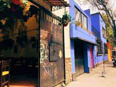 Colorful buildings in the Coyocan neighborhood