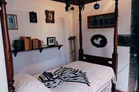 Bed in Frida Kahlo's bedroom in her home