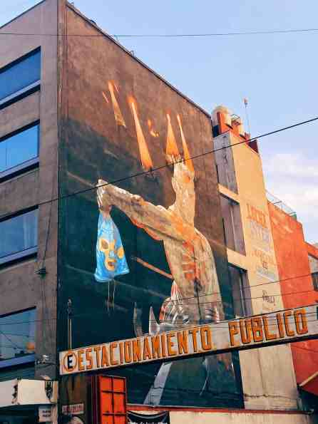 Mural outside Lucha Libre at Arena Mexico, one of the top things to do in Mexico City