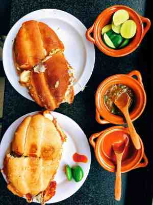 Where to eat in Mexico city: meal of tortas at Taqueria El Caifan,