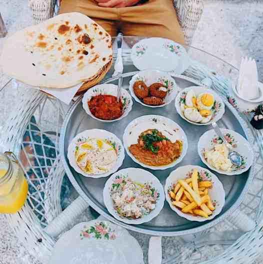 Food at the Arabian Teahouse, the best restaurant in Dubai.