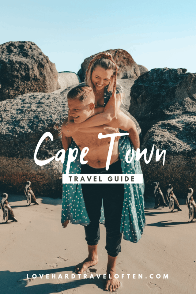 Pinterest pin graphic on with penguins on boulders beach, top things to do in Cape Town