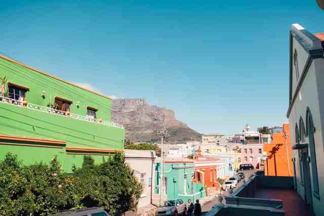 Colorful houses lining the streets of Bo Kaap, one of the top things to do in Cape Town