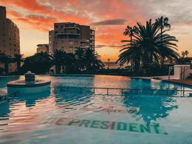 The President Hotel sunset and pool views, where to stay in Cape Town