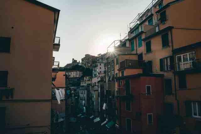 Light leak through the buildings in Cinque Terre