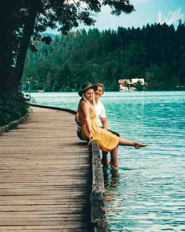 Sitting on the dock enjoying a walk around Lake Bled