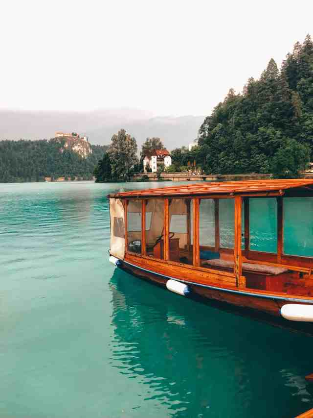 Getting to Bled Island by Pletna boat