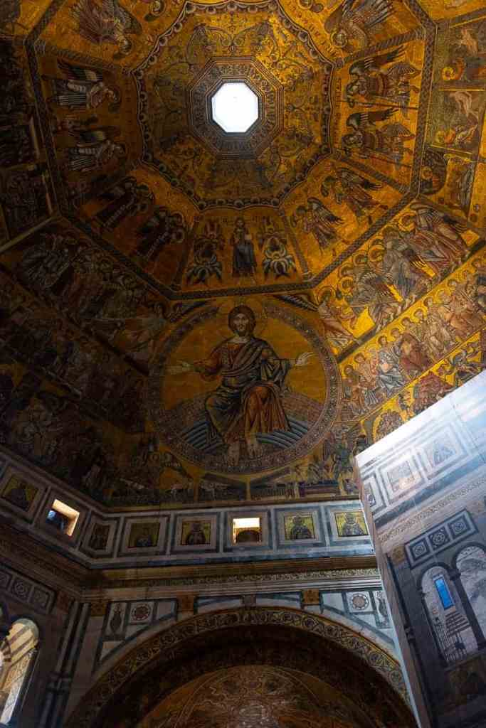 Golden mosaic interior of the Florence Baptistry.