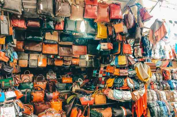 Many colorful leather goods from the Leather Market in Florence.