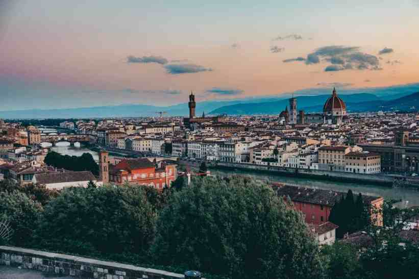 Beautiful sunrise colors over the skyline of Florence from Piazzale Michelangelo.