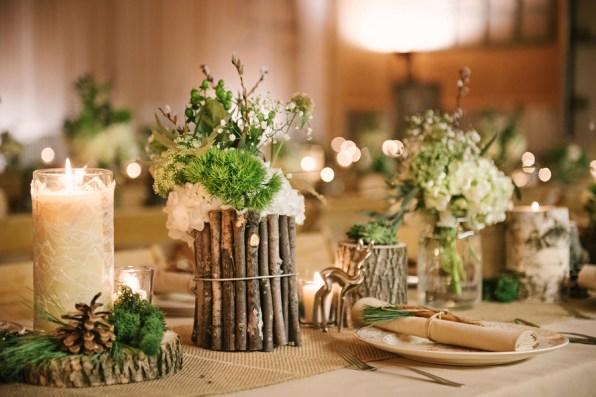 diy-wood-centerpieces-deer-themed-wedding