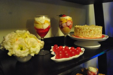 Strawberry Parfait by Janice and Sansrival Almond Cake from Sugarhouse