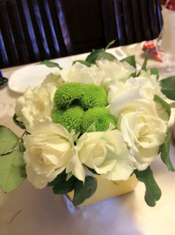 White Roses with Buttons