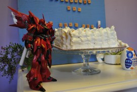this Gundam likes his cake too! LOL
