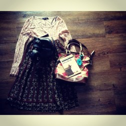 Forever 21 lace top, thrifted midi patterned skirt, nine and co leather bag, Francis Kong book, the shoes