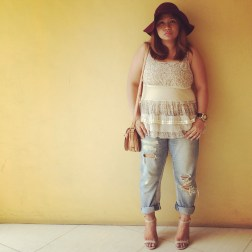 Rak n' Ripped/ Hat & Blouse Forever 21/ Bag & Watch from Aldo/ Jeans from Zara/ Payless Barely There Shoes