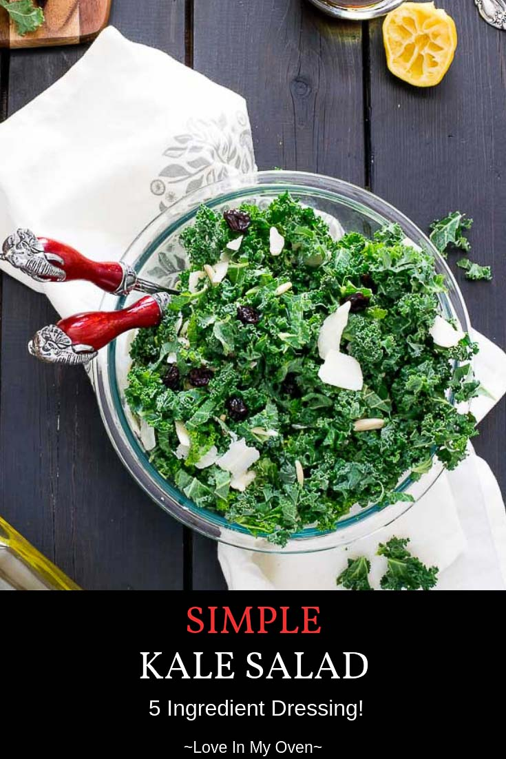 Serve up this Simple Kale Salad the next time you need a fix of greens. Great as a main on its own or with grilled chicken, or as a side salad. #greens #kalesalad #vegetarian #eatyourgreens #salad #kale