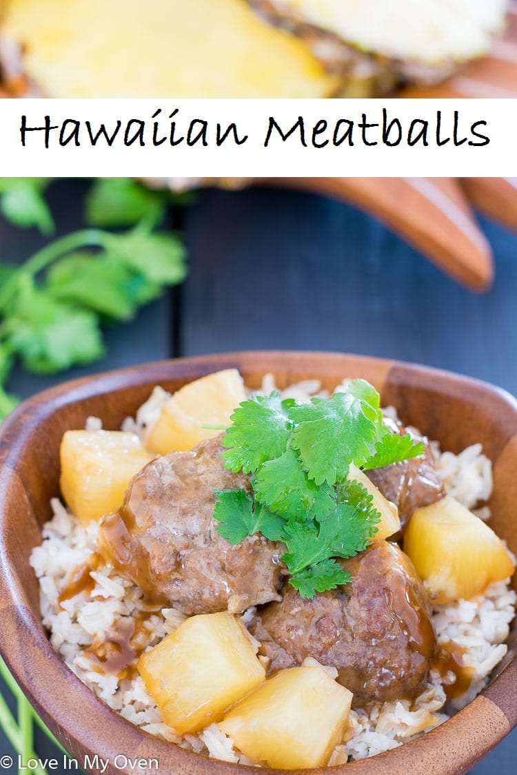 Warm meatballs and pineapple smothered in a sweet and sour sauce, served over rice for an easy dinner