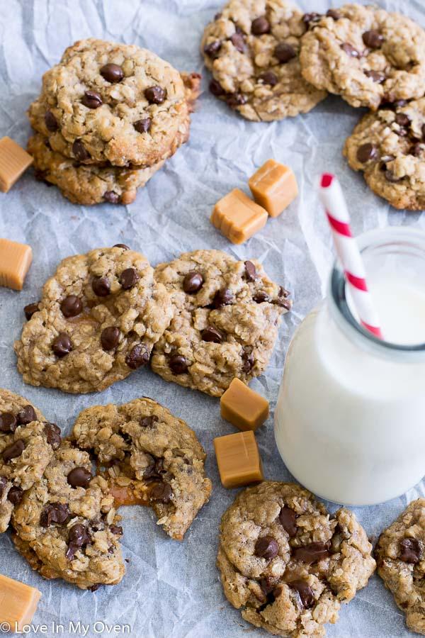 caramel-stuffed oatmeal chocolate chip cookies