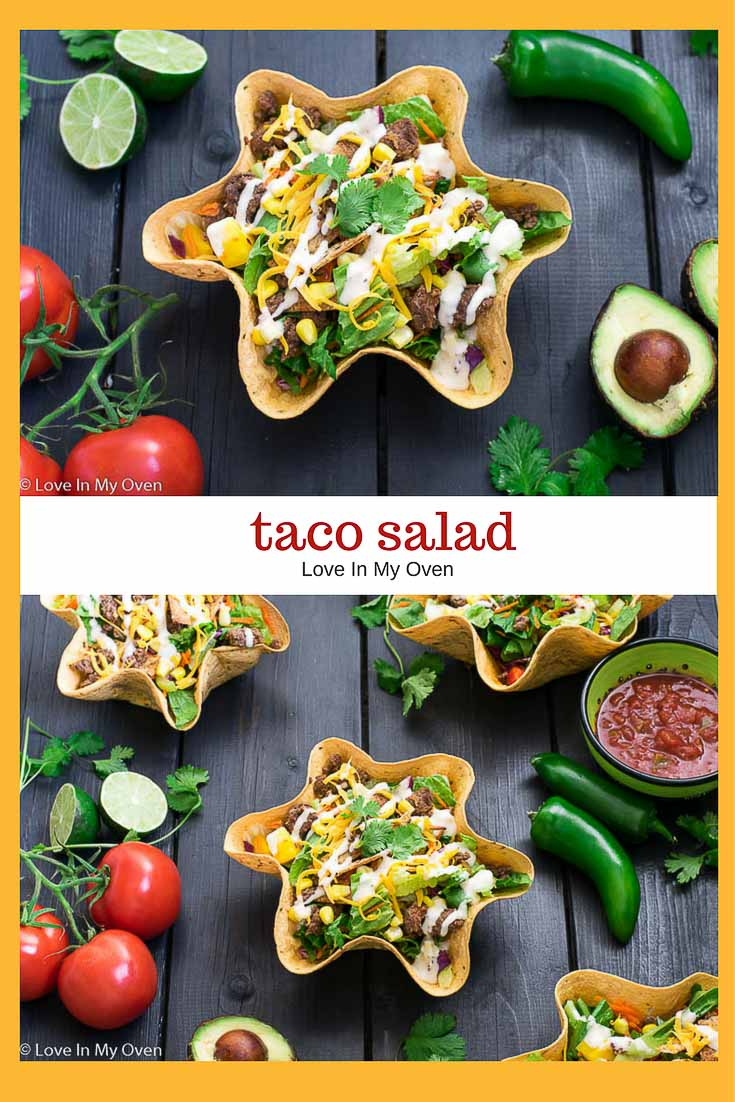 Tacos aren't just for Tuesday. Try this taco salad with ground beef, crisp lettuce and colorful vegetables topped with cheese!