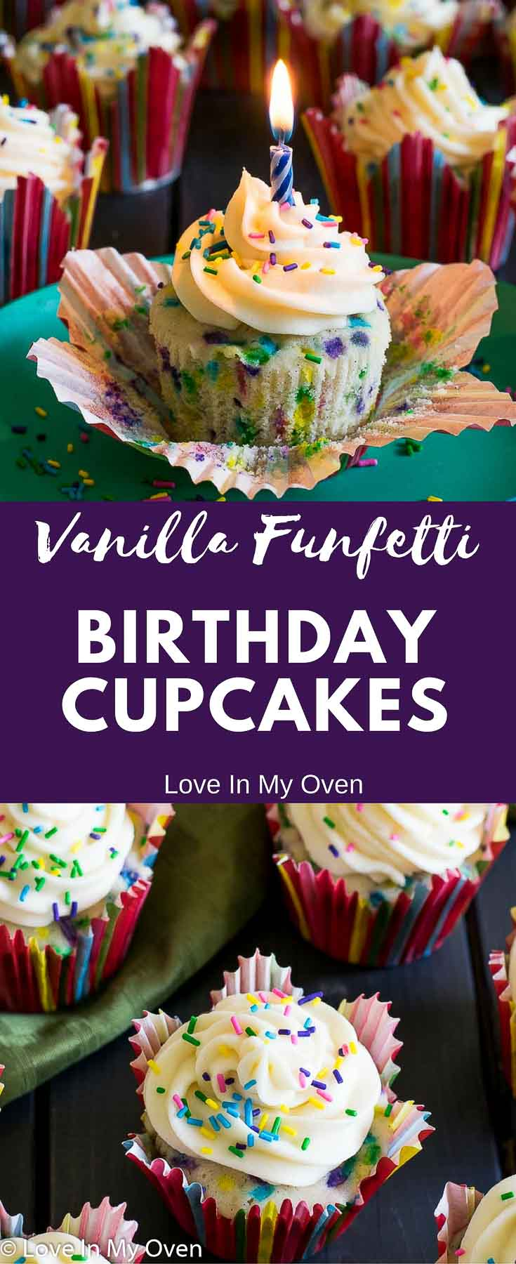 Soft, fluffy, funfetti cupcakes with a sweet vanilla flavour and thick, creamy vanilla frosting. The perfect birthday cupcake!!